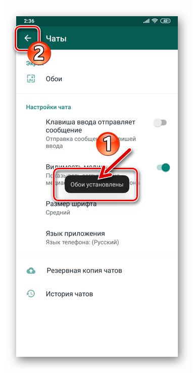 WhatsApp для Android - Выход из Настроек мессенджера после замены подложки для чатов