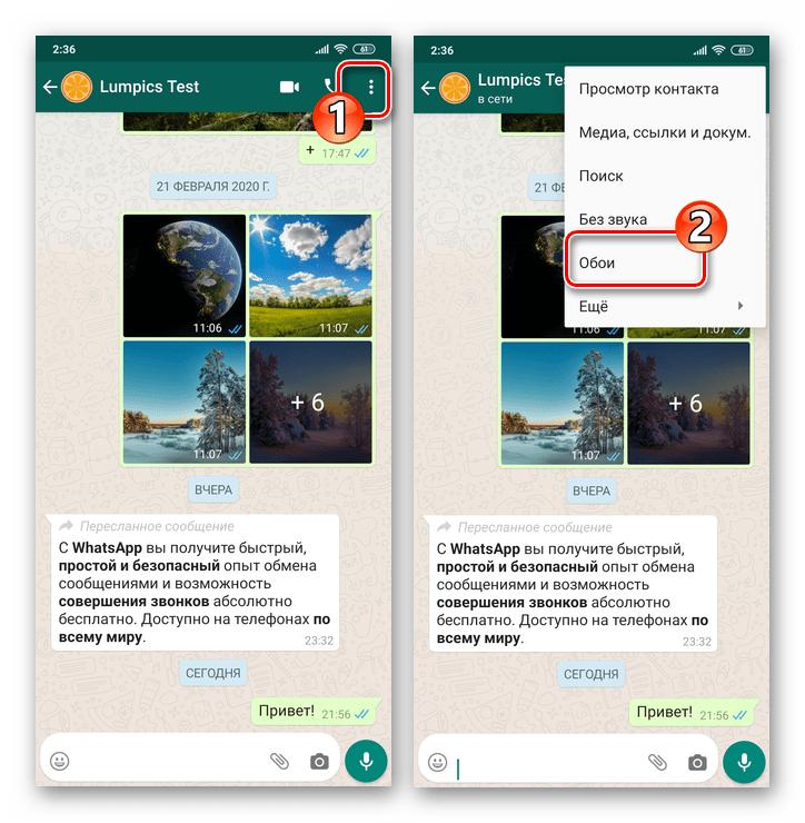 WhatsApp для Android - вызов меню индивидуального или группового чата - пункт Обои