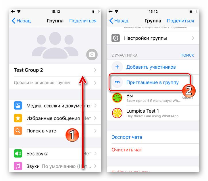 WhatsApp для iOS - функция Приглашение в группу (по ссылке) на экране Данные группы