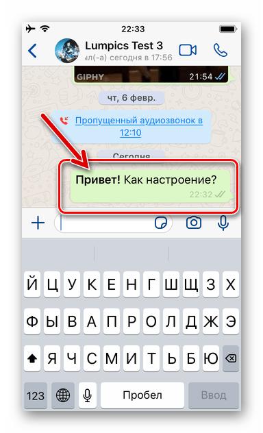 WhatsApp для iOS сообщение с выделенным жирным словом отправлено через мессенджер