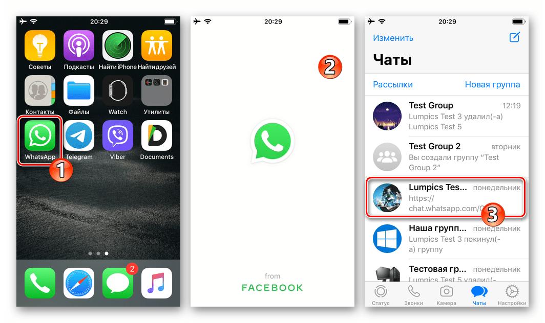 WhatsApp для iOS - запуск мессенджера, переход в чат, куда нужно отправить данные о своем местоположении