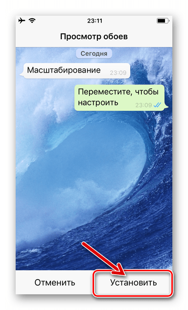 WhatsApp для iPhone - подтверждение установки фотографии из памяти девайса в качестве фона чатов
