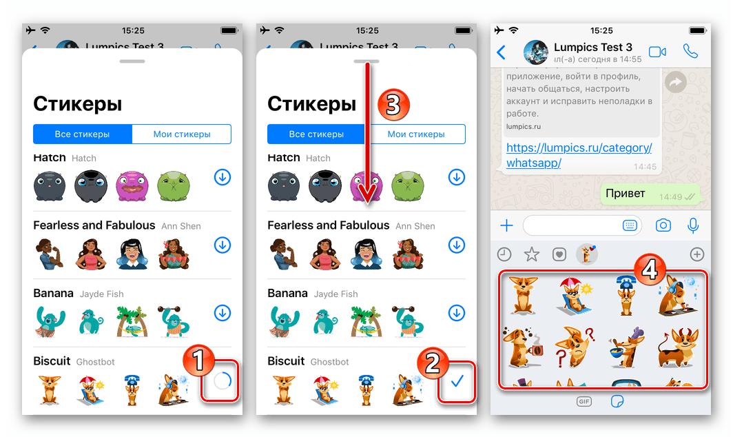 WhatsApp для iPhone процесс скачивания стикерпака в мессенджер и его завершение
