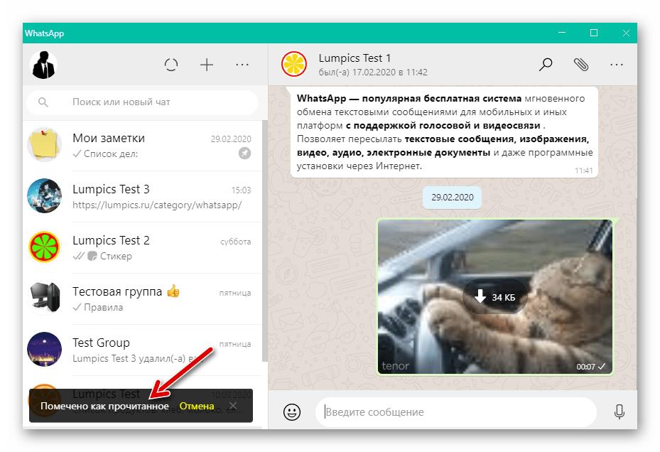 WhatsApp для Windows диалог или групповой чат помечен как прочитанный