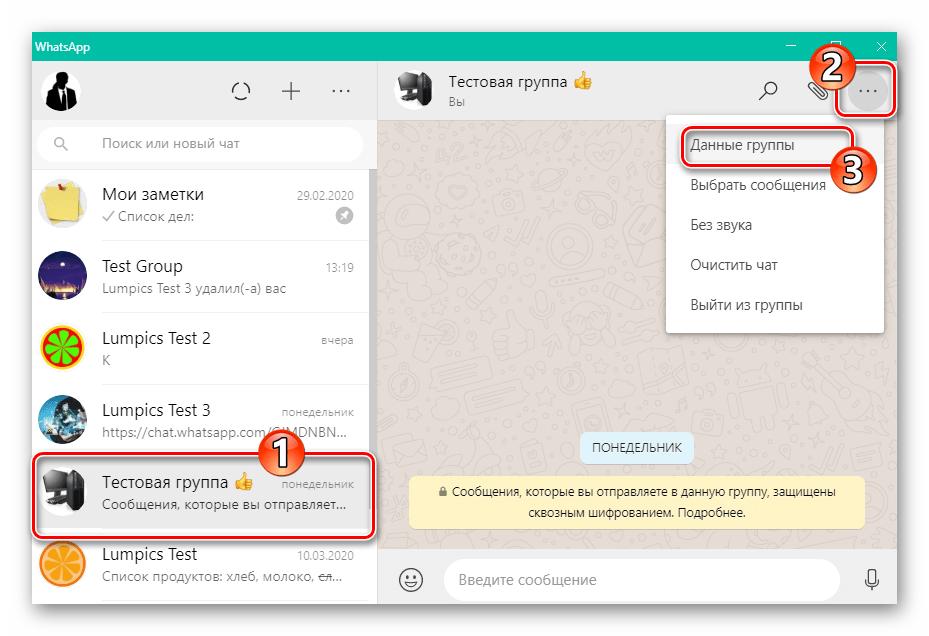 WhatsApp для Windows переход в настройки группового чата - Данные группы