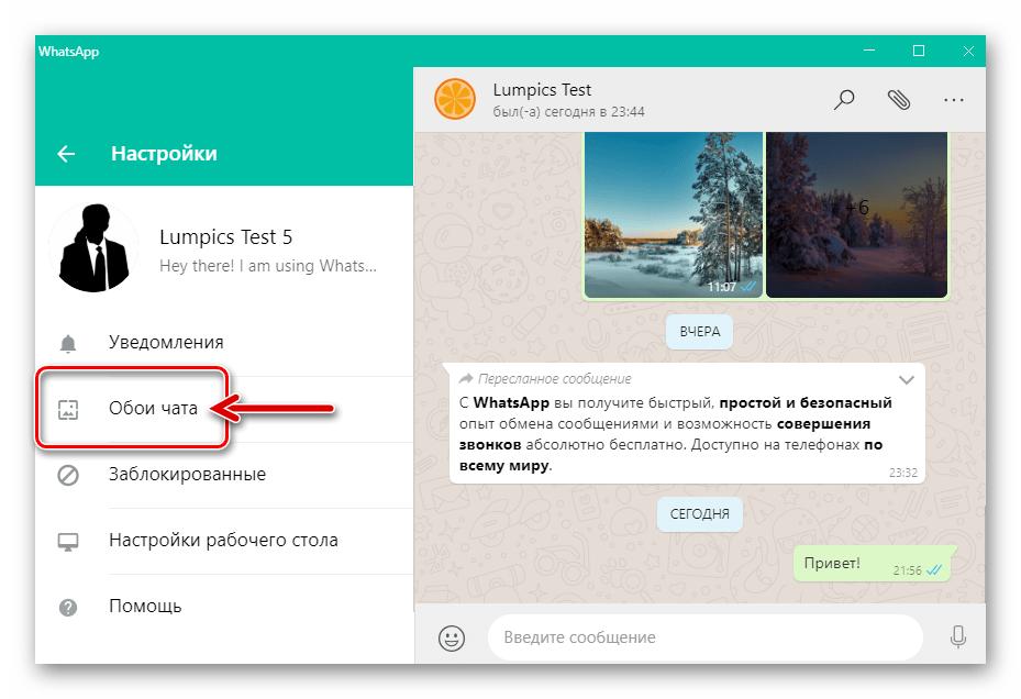 WhatsApp для Windows пункт Обои чата в Настройках приложения