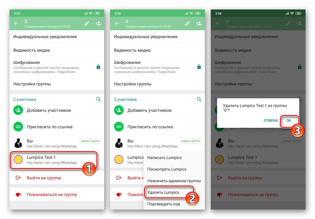 WhatsApp - удаление участника из группового чата в мессенджере
