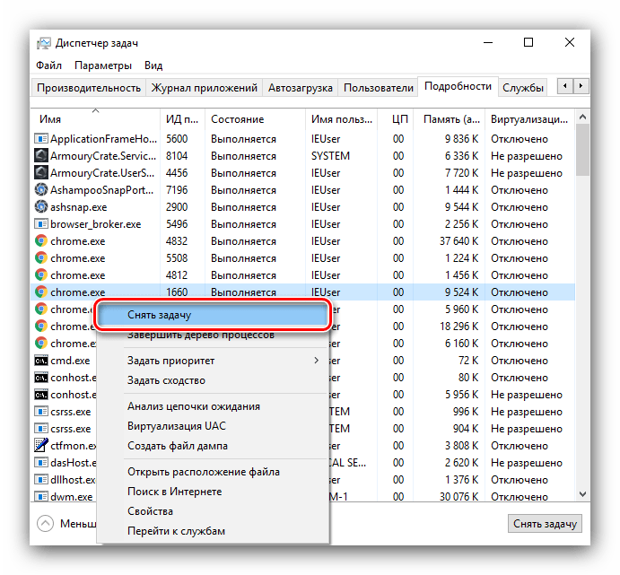 Завершение процесса для устранения долгого выключения компьютера с Windows 10