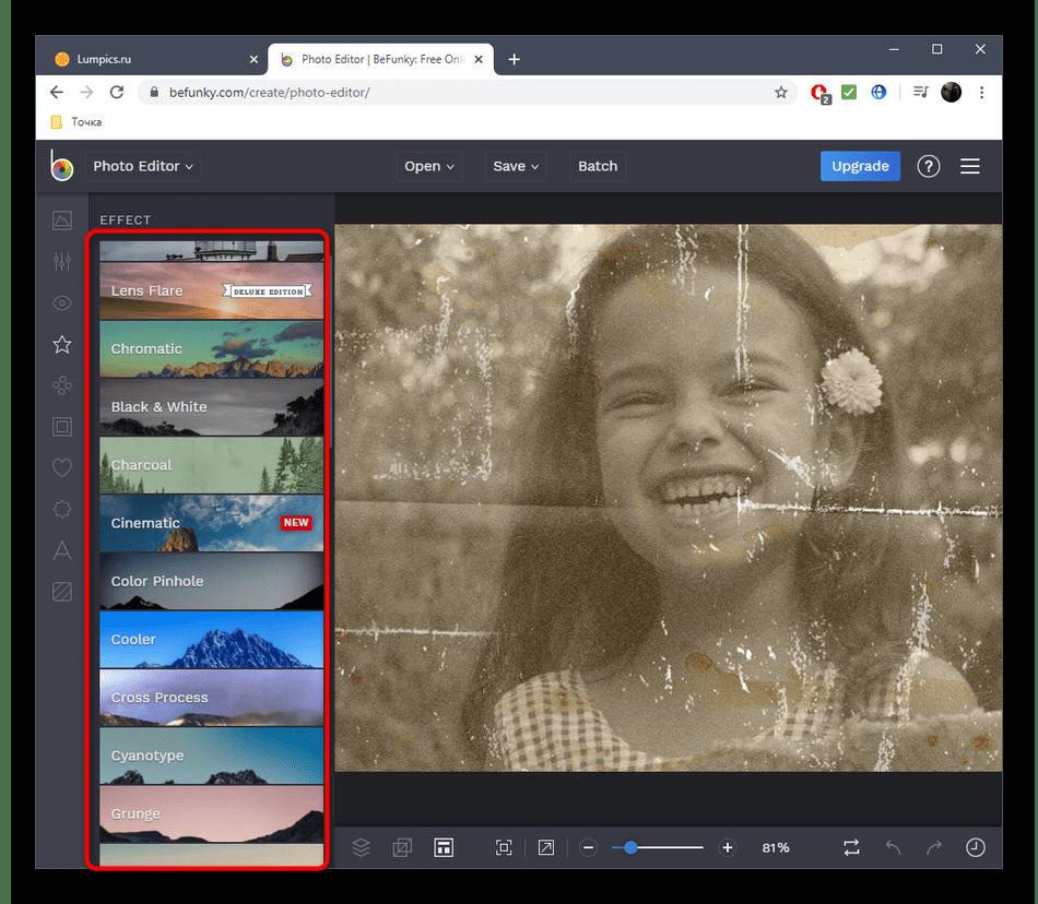 Использование фильтров для улучшения фотографии в онлайн-сервисе BeFunky