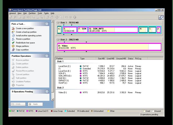 Использование программы Partition Magic для расширения диска C