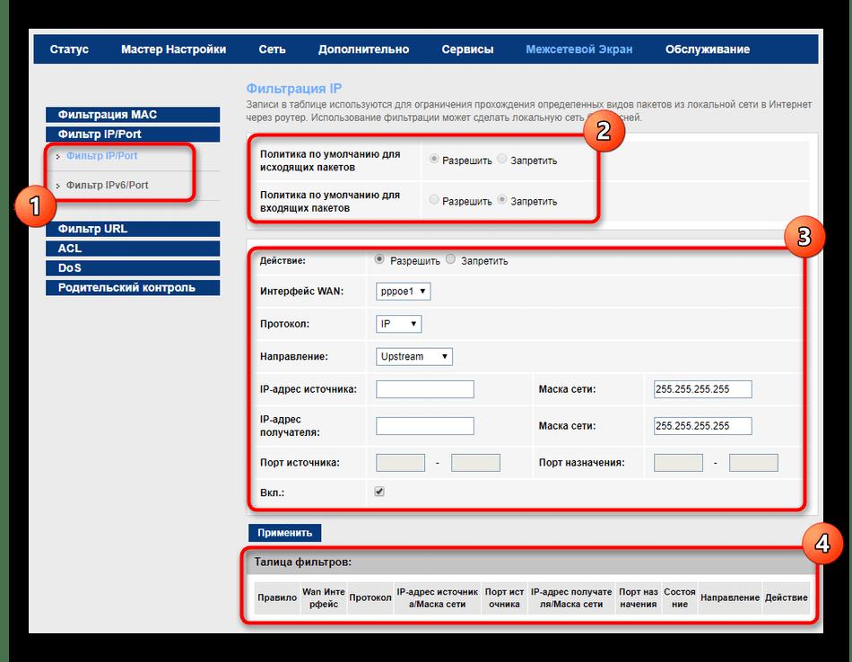 Настройка фильтрации IP-адресов в настройках роутера МГТС GPON