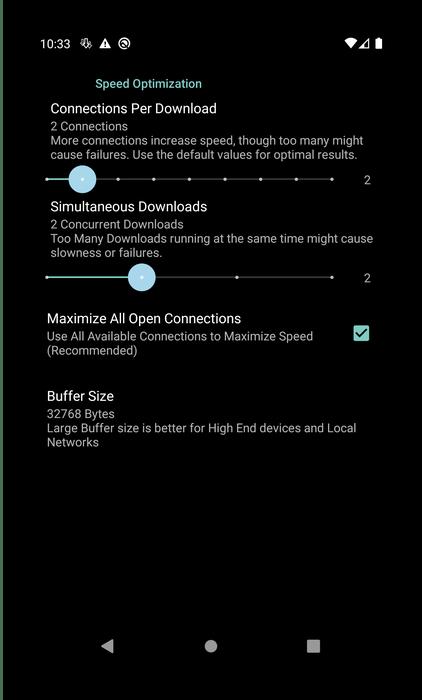 Настройки скорости загрузки менеджера закачек для Android Turbo Download Manager