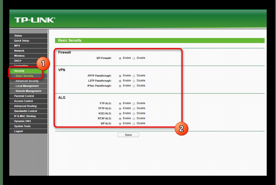 Общие настройки безопасности при ручном конфигурировании роутера TP-Link TL-WR940N