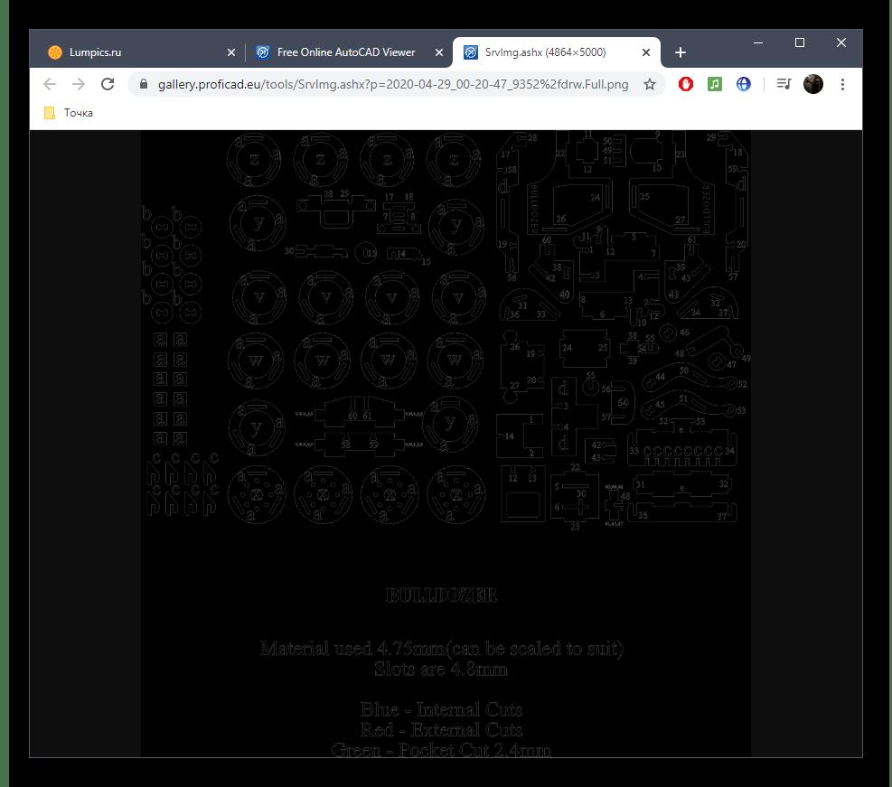 Открытие изображения файла DXF через онлайн-сервис ProfiCAD в отдельной вкладке