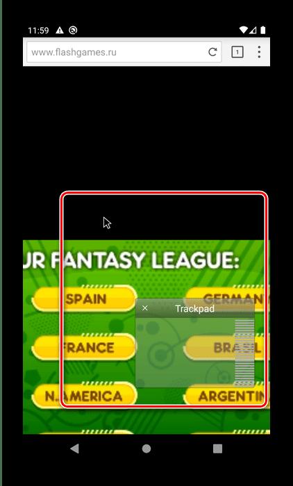 Отображение мыши в Puffin Web Browser для запуска Flash-игр на Android
