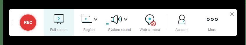 Панель для управления захватом через онлайн-сервис Apowersoft