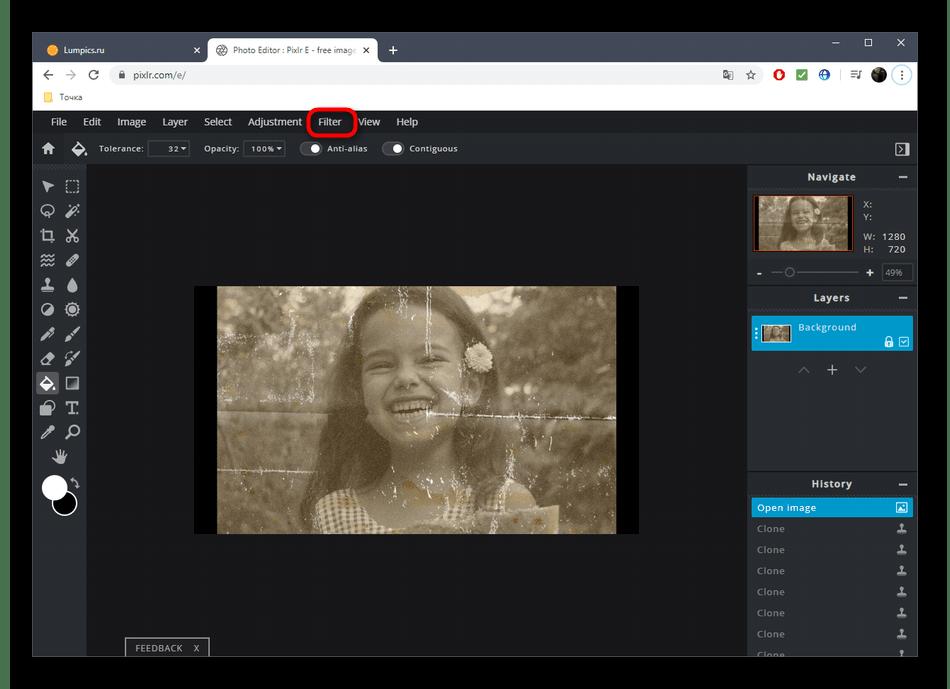 Переход к просмотру эффектов для реставрации фотографий в онлайн-сервисе PIXLR