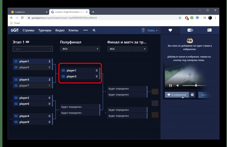 Переход к следующим этапам турнира в онлайн-сервисе GoodGame