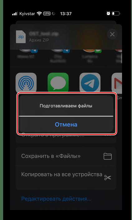Подготовка файлов для скачивания в приложении Яндекс.Диск для iPhone