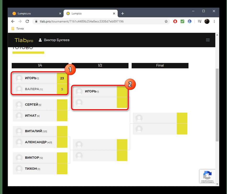 Просмотр итогов турнира в онлайн-сервисе Tournament Lab