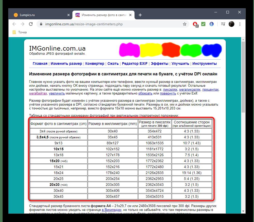Просмотр таблицы на сайте IMGonline перед изменением размера фото в сантиметрах
