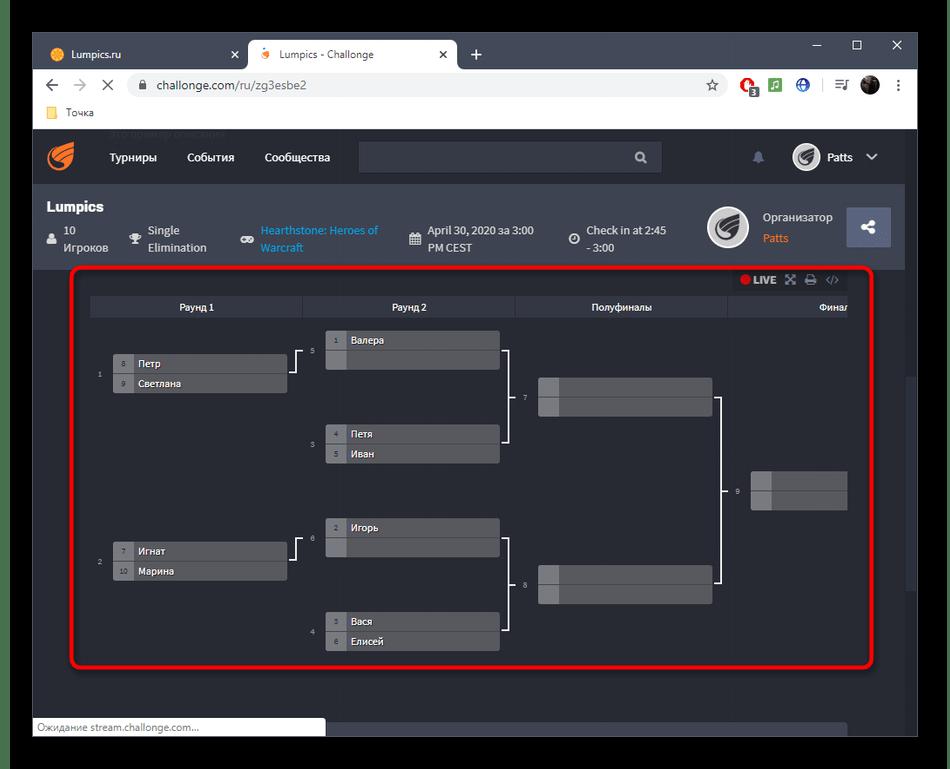 Просмотр турнирной сетки онлайн-сервиса Challonge