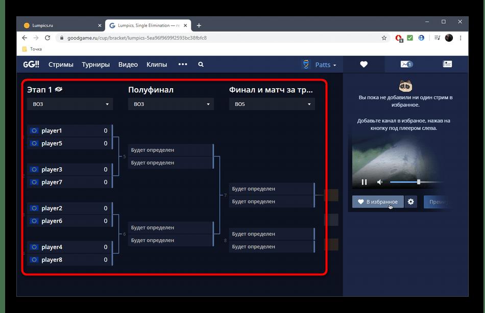 Просмотр турнирной сетки в онлайн-сервисе GoodGame