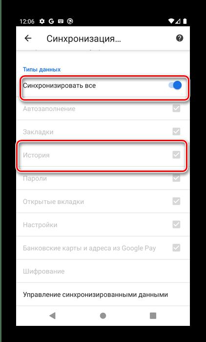 Проверка нужной опции в Google Chrome для восстановления истории посредством синхронизации