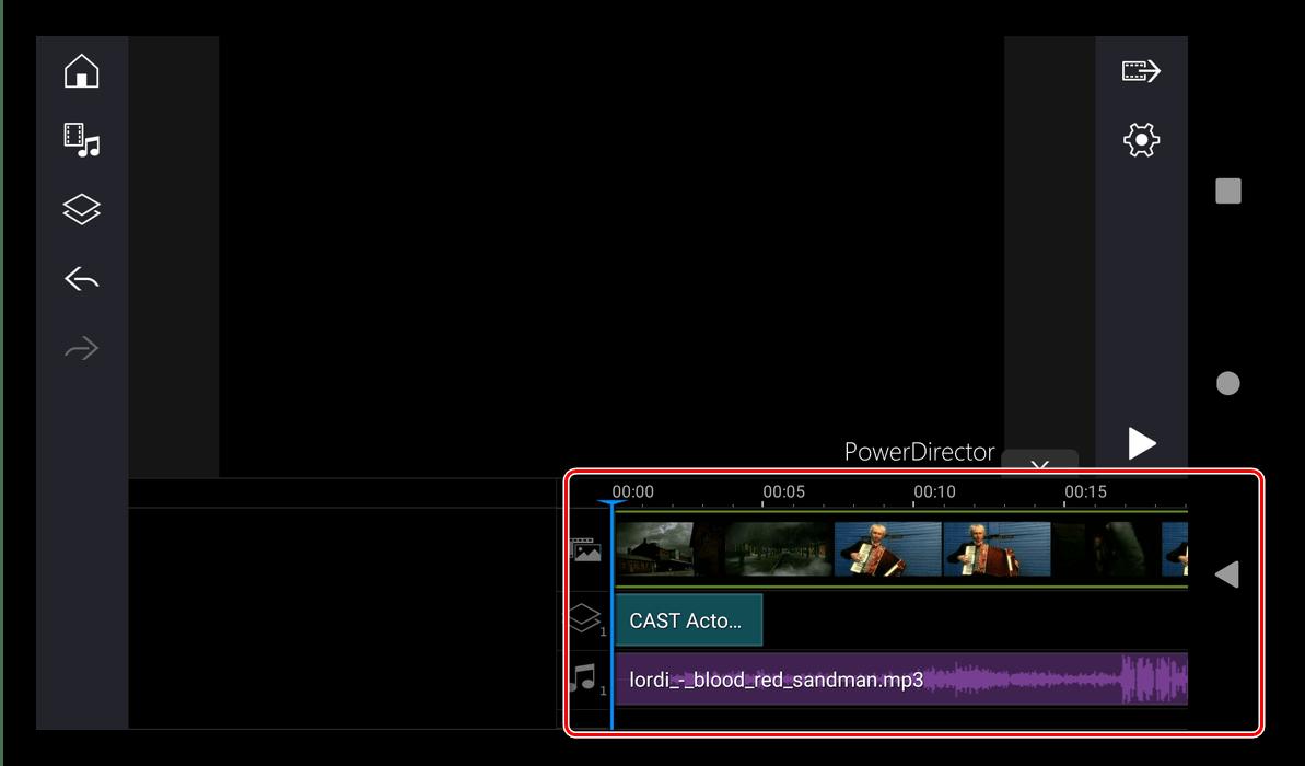 Состояние таймлайна для монтирования видео в PowerDirector для Android