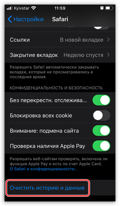 Удаление истории Safari на iPhone