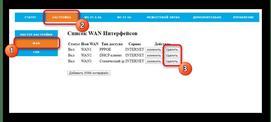 Удаление существующих параметров соединения роутера Rotek Rx-22200 для Таттелеком