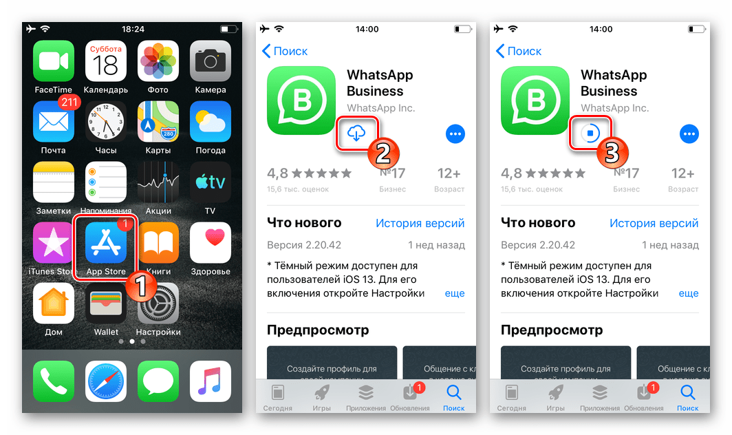 WhatsApp Business для iOS установка программы из Apple App Store