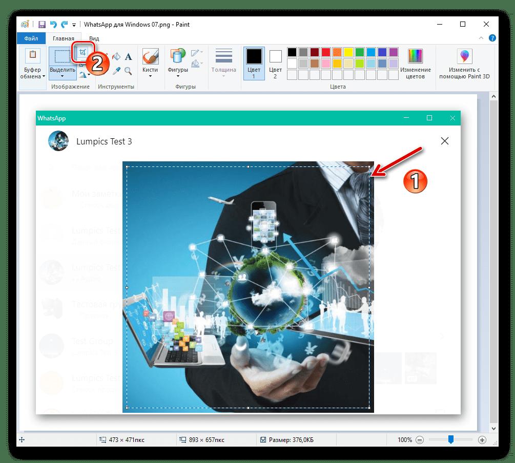 WhatsApp для Windows обрезка скриншота окна с аватаркой в графическом редакторе