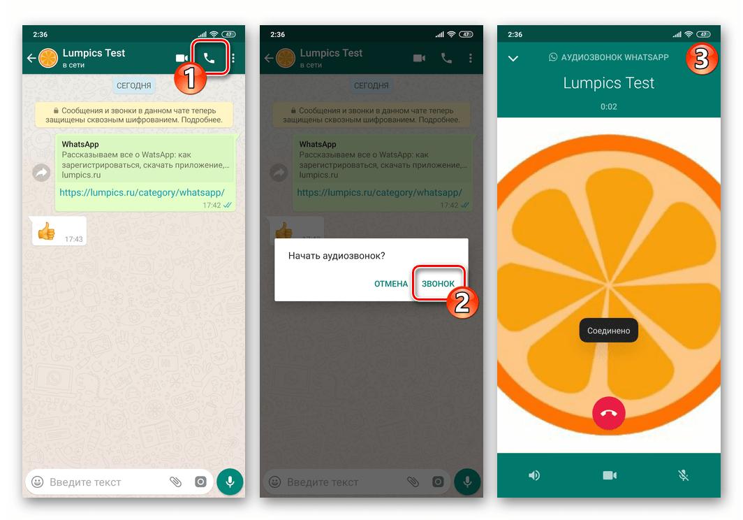 WhatsApp как осуществить аудиозвонок через мессенджер