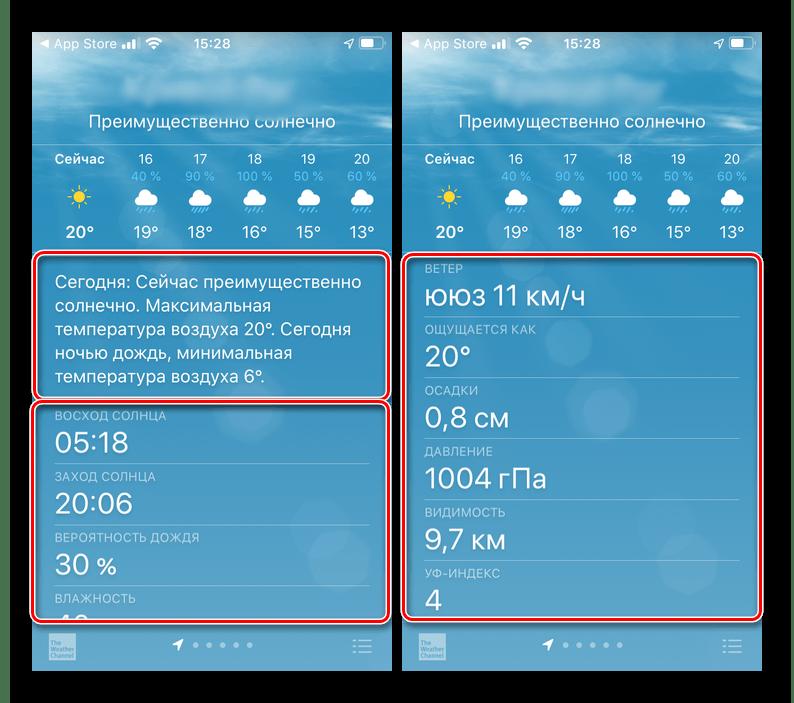 Дополнительные сведения о погоде в приложении Apple Погода на iPhone