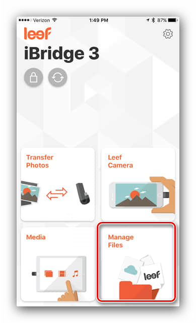 Файловый менеджер в Leef iBridge для копирования файлов с iPhone на флешку