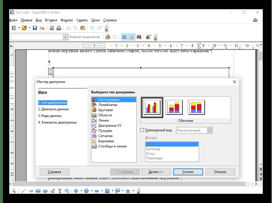 Использование программы OpenOffice Writer для создания графика