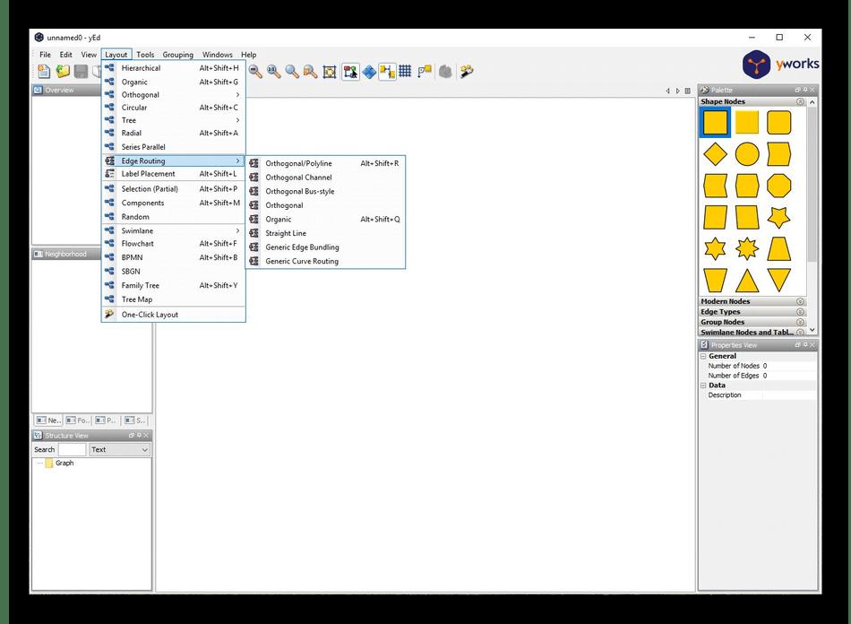 Использование программы yEd Graph Editor для создания графиков