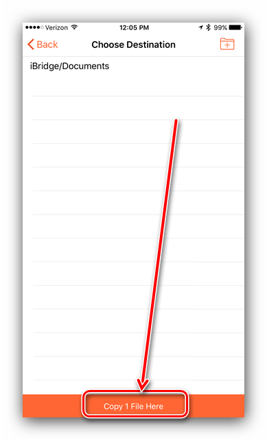 Начать перемещение копии в Leef iBridge для копирования файлов с iPhone на флешку