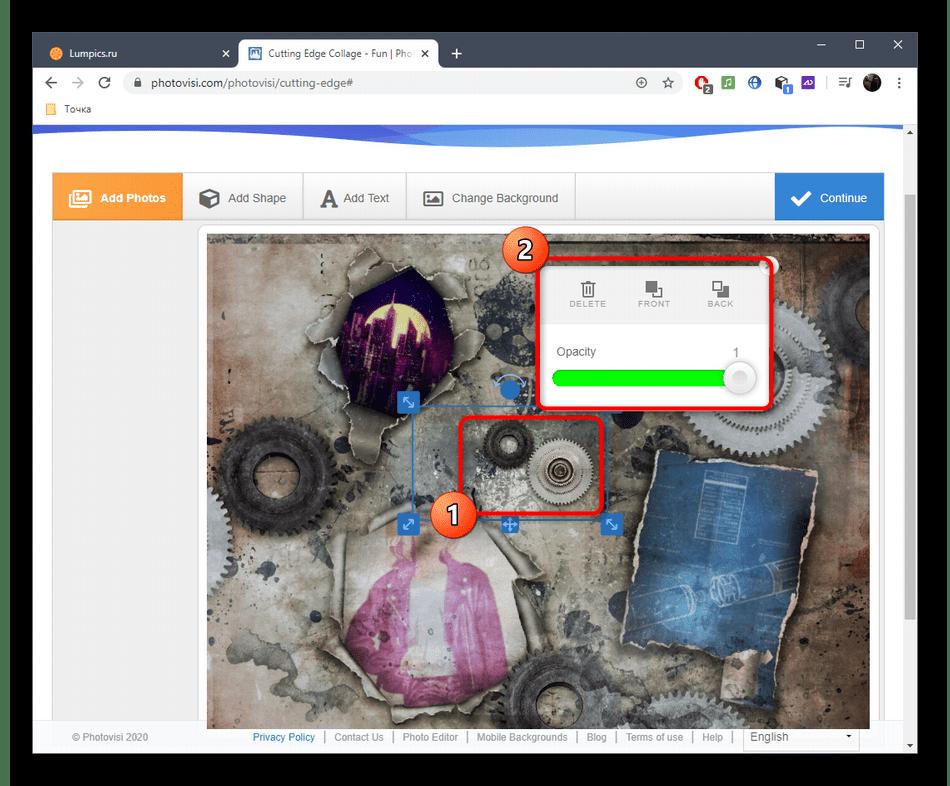 Настройка элементов для коллажа через онлайн-сервис PhotoVisi