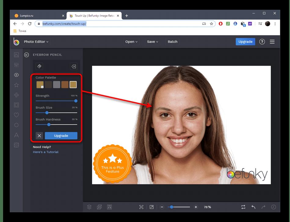 Настройка инструмента для редактирования лица на фото через онлайн-сервис BeFunky