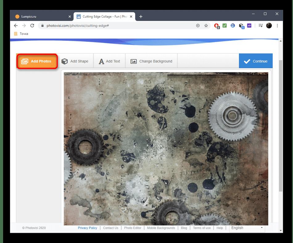 Переход к добавлению фото для коллажа через онлайн-сервис PhotoVisi