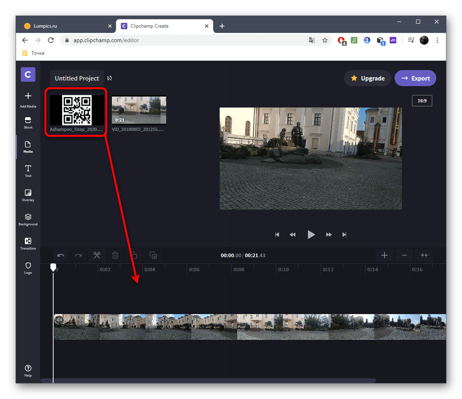 Перенос картинки на таймлайн после добавления в проект через онлайн-сервис Clipchamp Create