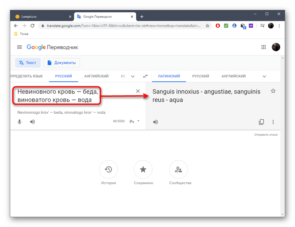 Результат перевода на латынь через онлайн-сервис Google Переводчик