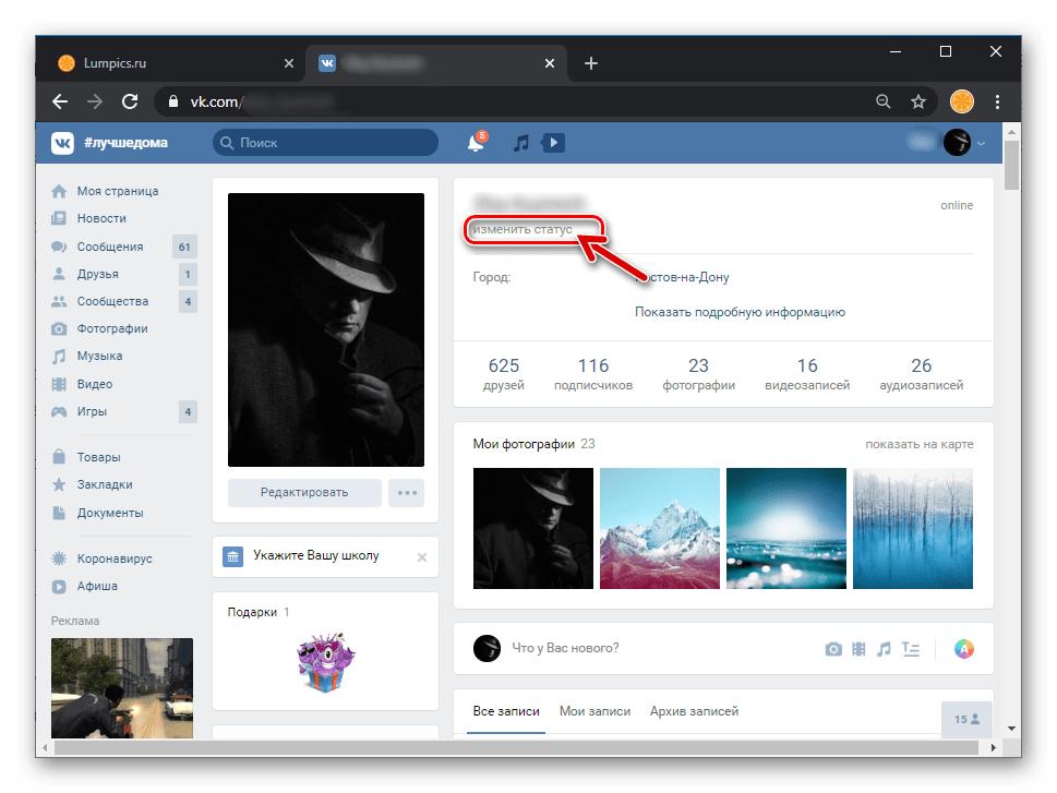 ВКонтакте добавление статуса своего профиля в социальной сети