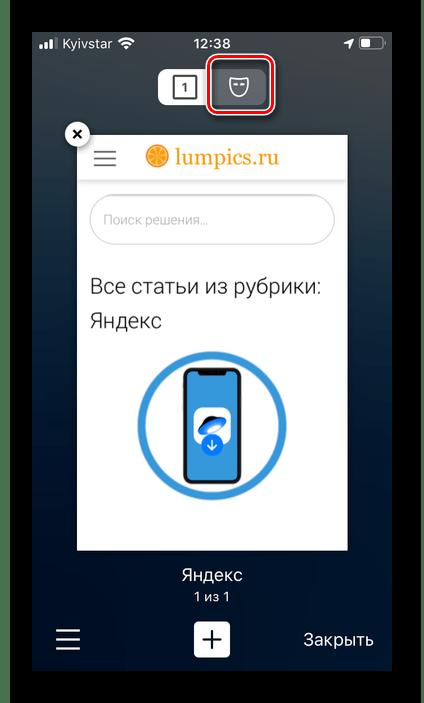 Второй вариант перехода в режим инкогнито в приложении Яндекс Браузер на iPhone