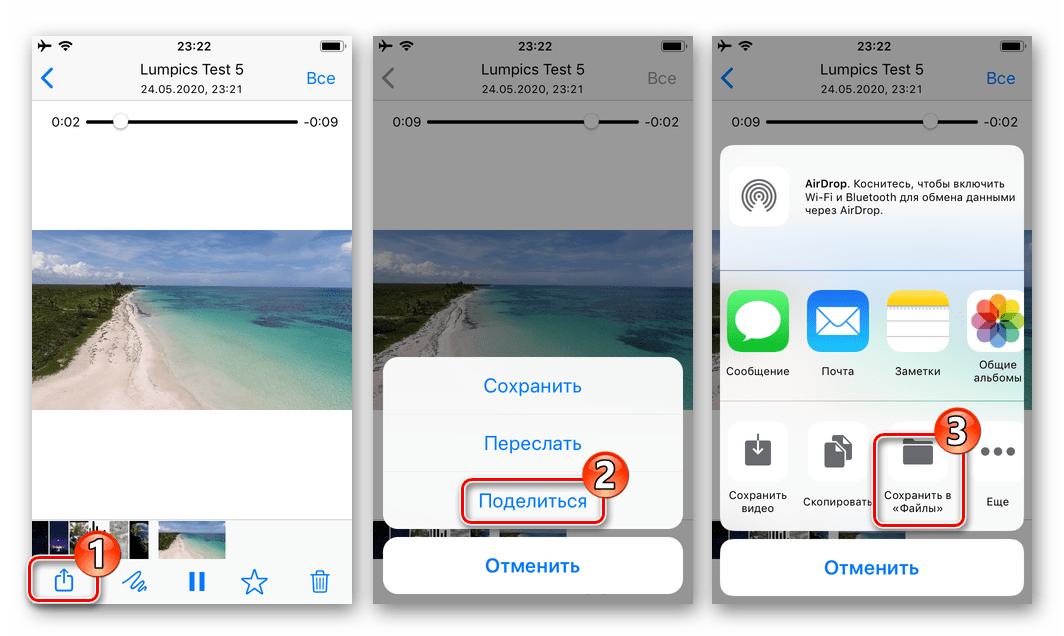 WhatsApp для iOS вызов опции Поделиться для видеоролика из чата - Сохранить в Файлы