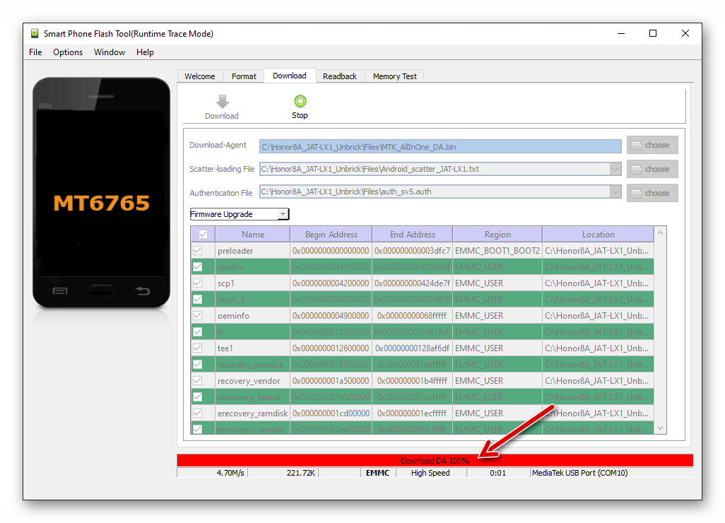 Huawei Honor 8A определился в SP Flash Tool, начало прошивки