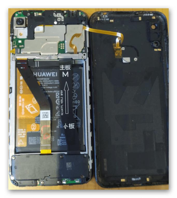 Huawei Honor 8A снятие задней крышки аппарата для получения доступа к тестпоинт при раскирпичивании