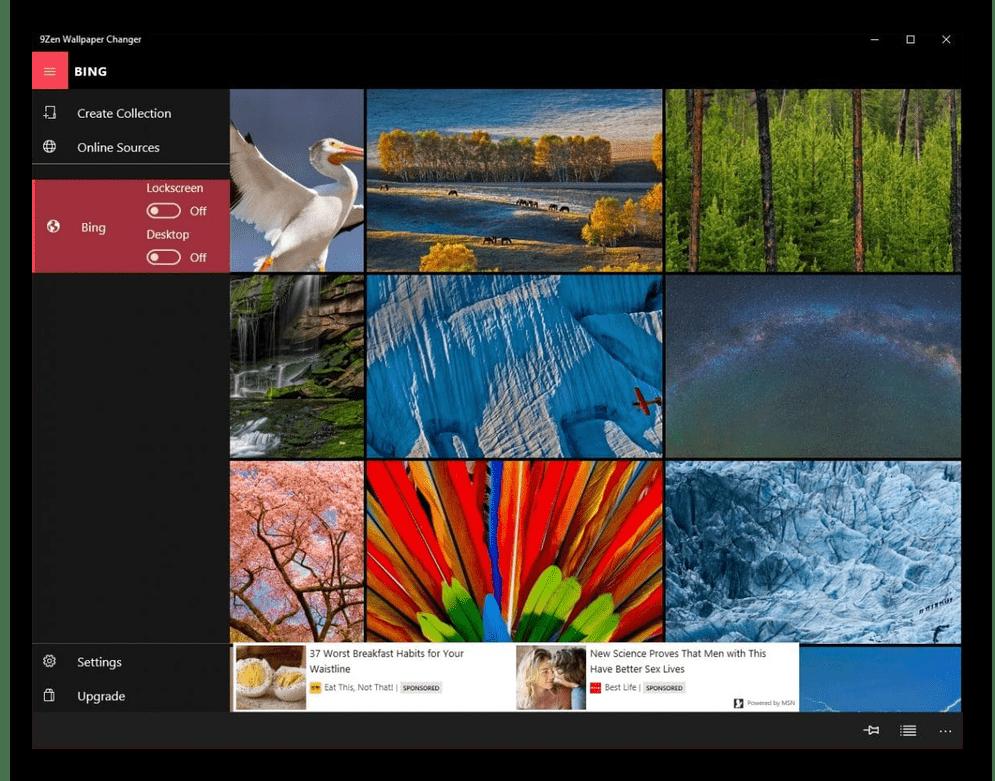 Интерфейс приложения 9Zen Wallpaper Changer для смены фона рабочего стола
